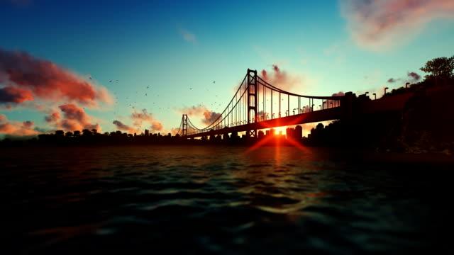 Goldengate Bridge against beautiful timelapse sunrise, travel cam