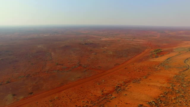 Goldfields and old gold mine in the Australian outback. Aerial view video