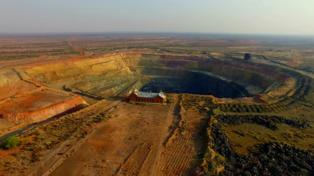 goldfields and old gold mine in the australian outback. aerial view - western australia stock videos & royalty-free footage