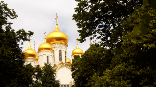 Gold-plated domes of the Temple of the Moscow Kremlin video