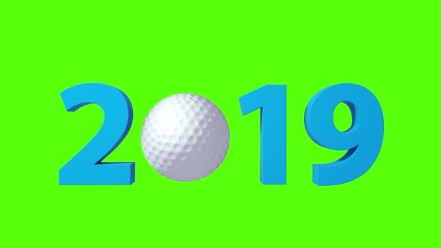 Golf 2019 design background on a Green Screen. 4K