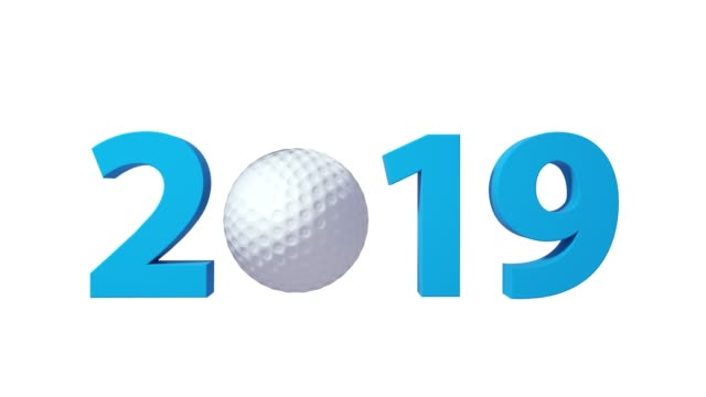 Golf 2019 design background on a White Background. Alpha channel included