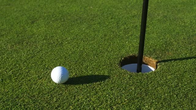 ゴルフ ・ ボールは穴にグリーンを通過します。 - ゴルフ点の映像素材/bロール