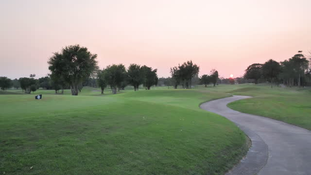Golf course in the countryside,Green golf field, Golfing Holidays.Sports Cinemagraphs.Golf Concepts