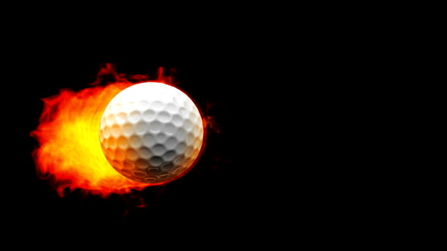 Golf fireball in flames on black background video