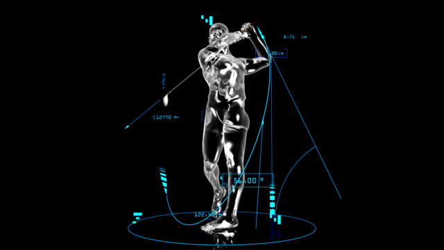 3D golf man with technical data video