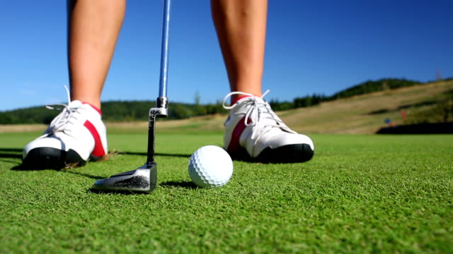 Golf player on the putting green video