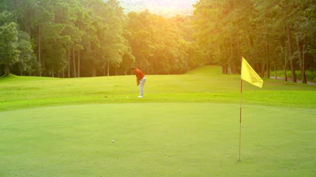 골프 스포츠 개념, 골퍼 슬로우 모션 칩 골프 공 상자에 대 한 그린에 구멍. 골프 코스는 아름 다운 페어 웨이 산에 자연 트리 레이아웃 - 정확성 스톡 비디오 및 b-롤 화면