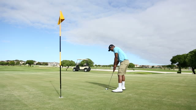 Golfer disappointed about missing a hole on the golf course video
