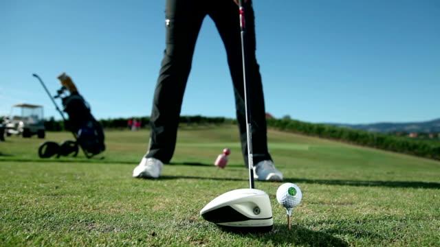 HD MACRO: Golfer hits the ball video