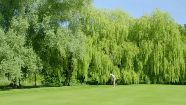 Ein Golfer stellt einen Putt auf einem schönen Golfplatz auf und versenkt den Putt. – Video