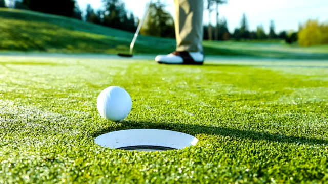 Golfer on The Putting Green Sinks a Putt video