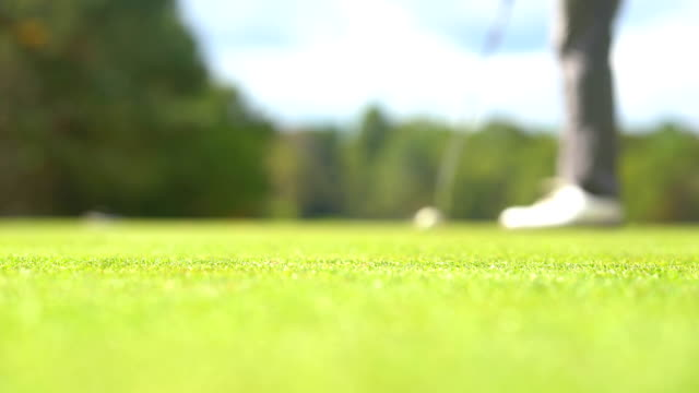Golfer playing sports in golf course. Hole on blurred player hitting golf ball to it for the winner