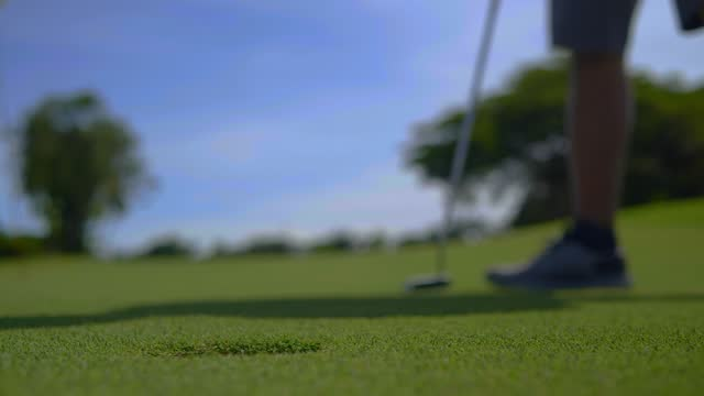 Golfer putt ball to hole on green golf course