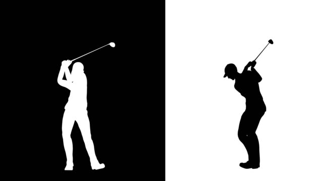 stockvideo's en b-roll-footage met golfer schommel silhouet profiel en vooraanzicht - omtrek