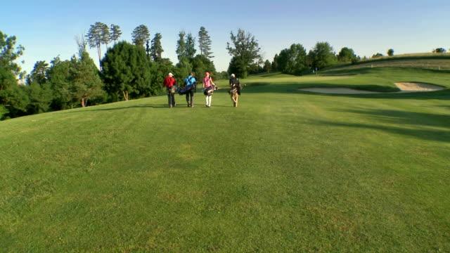 Aérea de los golfistas pasos en el campo de Golf - vídeo