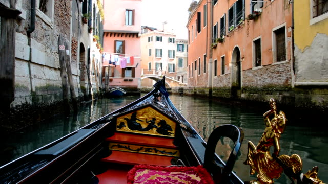 Gondola Ride, Old Wall, in Venice video
