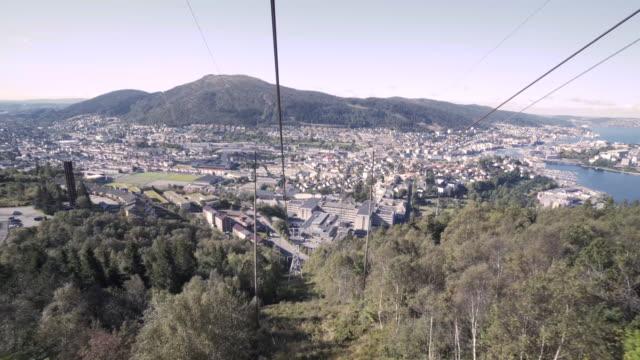 vídeos y material grabado en eventos de stock de góndola de 4k en ulriken pico en bergen noruega - bergen