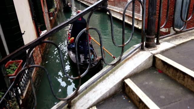 Gondolas in canal, Venice video