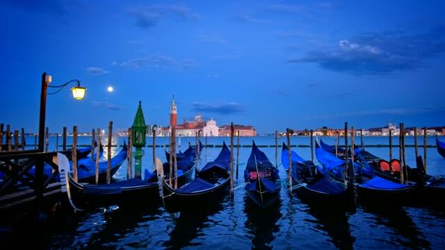 Gondolas in lagoon of Venice, Italy