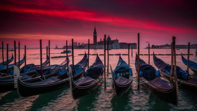 Gondolas in Venice at Sunrise, Italy