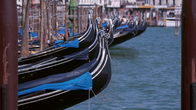 Gondolas on the pier. Venice, Italy video