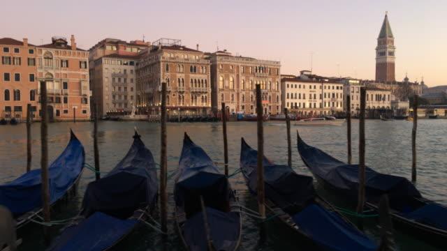 Gondolas Parked in Venice, Italy video