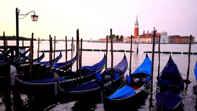 Gondolas with San Giorgio di Maggiore church in Venice, Italy
