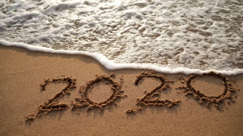 Good Bye 2020. Happy New Year 2021 on Sand Sea Wave Beach Good Bye 2020. Happy New Year 2021 on Sand Sea Wave Beach happy new year stock videos & royalty-free footage