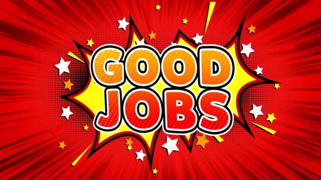 gute jobs text pop art stil comic ausdruck. - aufkleber stock-videos und b-roll-filmmaterial