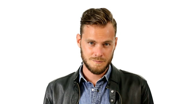 Good looking man in leather jacket video