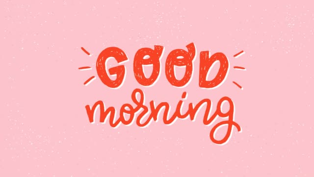vídeos de stock e filmes b-roll de good morning animated hand drawn lettering text - texto datilografado