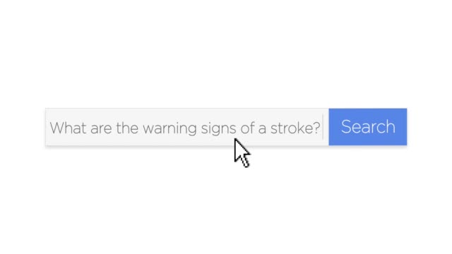 "Google-Style Web Search Box with Stroke Warning Signs Question A graphical Google-style web search box asking the question, ""What are the warning signs of a stroke?"" With optional luma matte. web browser stock videos & royalty-free footage"