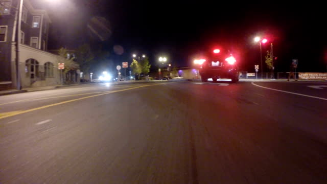 GoPro attached to bumper of car at night driving through neighborhood and on highway actual speed 1x POV driving video