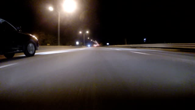 Gopro Attached To Bumper Of Car At Night video