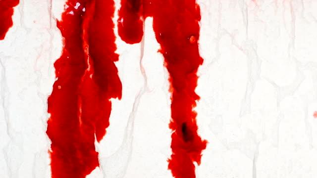 Gorey blood flowing across wet paper video