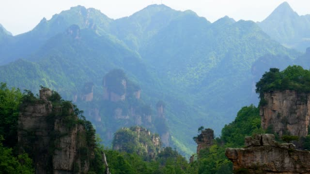 Gorge Of Canyon Mountains In Zhangjiajie Park With Stunning Cliffs In Tropics