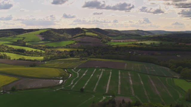 gorgeous rolling landscape in south downs, west sussex - drone shot - sussex occidentale video stock e b–roll