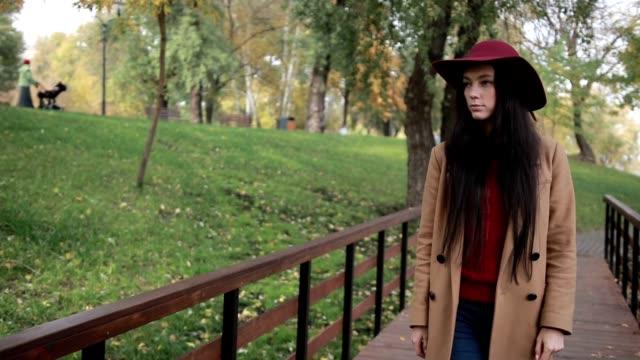 Superbe femme bénéficiant de loisirs dans le parc automne - Vidéo