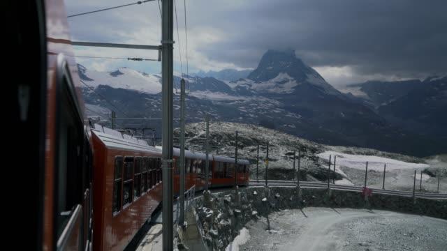 Gornergrat train driving in Swiss Alps