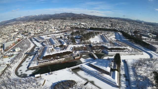goryokaku fort den historiska arkitekturen i vintersäsongen, populära landmärke i hakodate city, hokkaido, japan - hokkaido bildbanksvideor och videomaterial från bakom kulisserna
