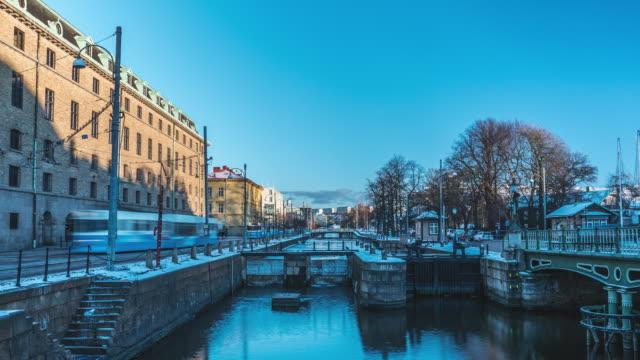 göteborg city canal vintern time-lapse - gothenburg bildbanksvideor och videomaterial från bakom kulisserna