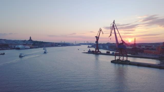 göteborg, sverige-antenn skott vid solnedgången - gothenburg bildbanksvideor och videomaterial från bakom kulisserna