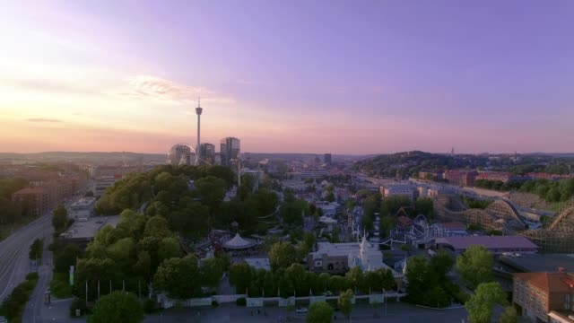 Gothenburg Sweden Aerial View over City in Sunset video
