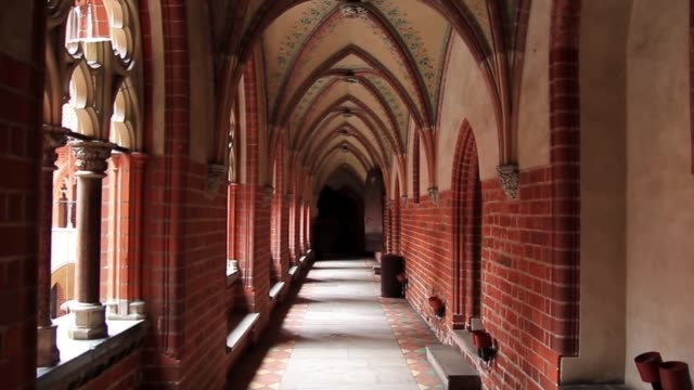 gothic arches and galleries in the castle of the teutonic order in malbork, poland. - gothic fashion stock videos and b-roll footage