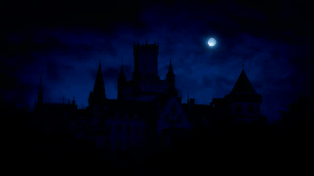 Gothic Castle At Night With Full Moon video