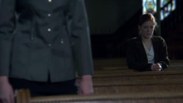 Gothic Church Black Pews Dolly toward CU  in HD video
