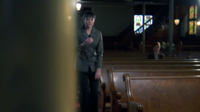Gothic Church Black Pews Truck Right WS in HD video