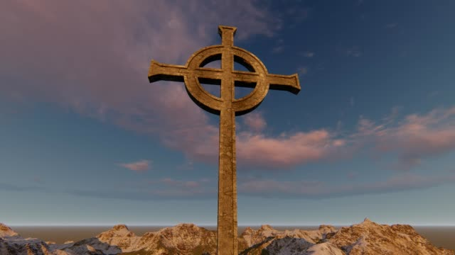 Gothic Cross with Clouds and Mountains time lapse