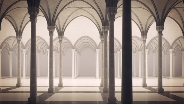 Gothic palace with an inner courtyard. Loopable animation. Architectural background. 4K video. palace stock videos & royalty-free footage